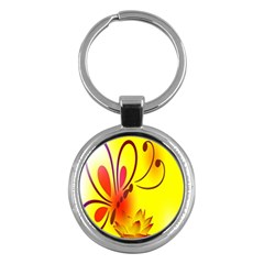 Butterfly Background Wallpaper Texture Key Chains (round)