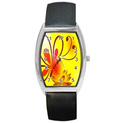 Butterfly Background Wallpaper Texture Barrel Style Metal Watch