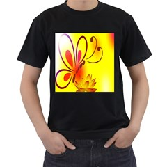 Butterfly Background Wallpaper Texture Men s T-Shirt (Black) (Two Sided)