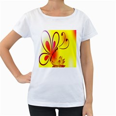 Butterfly Background Wallpaper Texture Women s Loose-Fit T-Shirt (White)