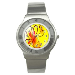 Butterfly Background Wallpaper Texture Stainless Steel Watch