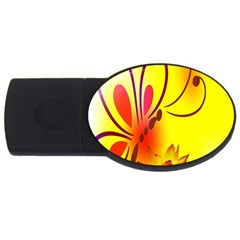 Butterfly Background Wallpaper Texture USB Flash Drive Oval (4 GB)