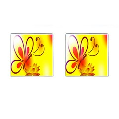 Butterfly Background Wallpaper Texture Cufflinks (Square)