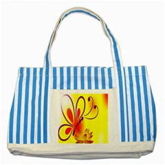 Butterfly Background Wallpaper Texture Striped Blue Tote Bag