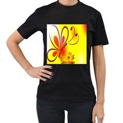 Butterfly Background Wallpaper Texture Women s T-Shirt (Black)