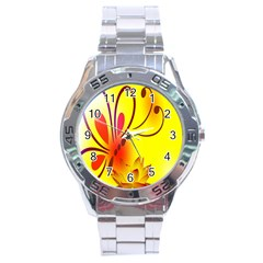 Butterfly Background Wallpaper Texture Stainless Steel Analogue Watch
