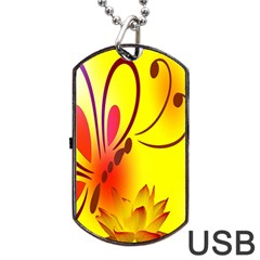 Butterfly Background Wallpaper Texture Dog Tag Usb Flash (two Sides)