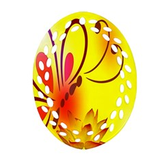 Butterfly Background Wallpaper Texture Oval Filigree Ornament (Two Sides)