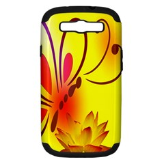Butterfly Background Wallpaper Texture Samsung Galaxy S III Hardshell Case (PC+Silicone)