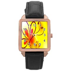 Butterfly Background Wallpaper Texture Rose Gold Leather Watch