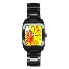 Butterfly Background Wallpaper Texture Stainless Steel Barrel Watch