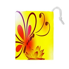 Butterfly Background Wallpaper Texture Drawstring Pouches (large)