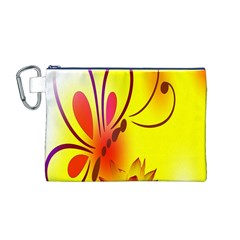 Butterfly Background Wallpaper Texture Canvas Cosmetic Bag (M)