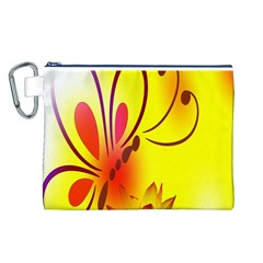 Butterfly Background Wallpaper Texture Canvas Cosmetic Bag (l)