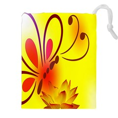 Butterfly Background Wallpaper Texture Drawstring Pouches (XXL)