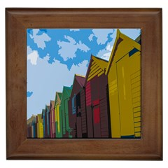 Brightly Colored Dressing Huts Framed Tiles