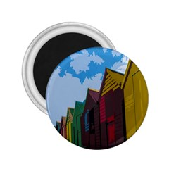 Brightly Colored Dressing Huts 2.25  Magnets