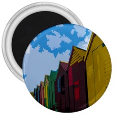 Brightly Colored Dressing Huts 3  Magnets