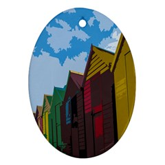 Brightly Colored Dressing Huts Ornament (Oval)
