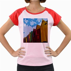 Brightly Colored Dressing Huts Women s Cap Sleeve T Shirt