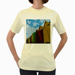 Brightly Colored Dressing Huts Women s Yellow T Shirt