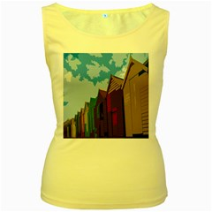 Brightly Colored Dressing Huts Women s Yellow Tank Top