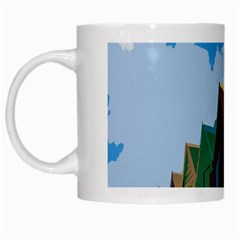 Brightly Colored Dressing Huts White Mugs