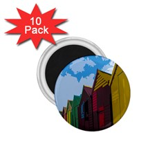 Brightly Colored Dressing Huts 1.75  Magnets (10 pack)