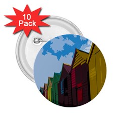 Brightly Colored Dressing Huts 2 25  Buttons (10 Pack)