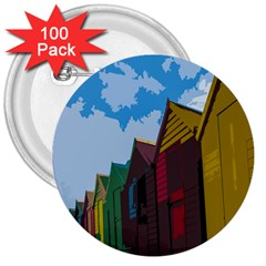 Brightly Colored Dressing Huts 3  Buttons (100 pack)