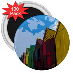 Brightly Colored Dressing Huts 3  Magnets (100 pack)