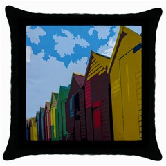 Brightly Colored Dressing Huts Throw Pillow Case (black)