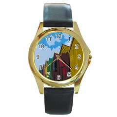 Brightly Colored Dressing Huts Round Gold Metal Watch