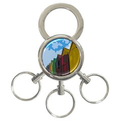 Brightly Colored Dressing Huts 3 Ring Key Chains