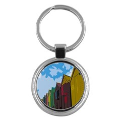 Brightly Colored Dressing Huts Key Chains (round)