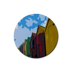 Brightly Colored Dressing Huts Rubber Round Coaster (4 pack)