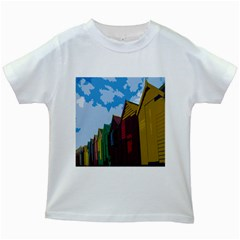 Brightly Colored Dressing Huts Kids White T-Shirts