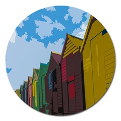 Brightly Colored Dressing Huts Magnet 5  (Round)