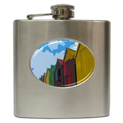 Brightly Colored Dressing Huts Hip Flask (6 Oz)