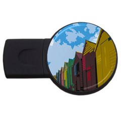 Brightly Colored Dressing Huts Usb Flash Drive Round (2 Gb)
