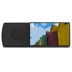 Brightly Colored Dressing Huts USB Flash Drive Rectangular (1 GB)