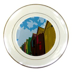 Brightly Colored Dressing Huts Porcelain Plates