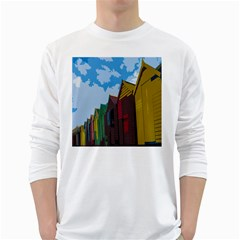 Brightly Colored Dressing Huts White Long Sleeve T-Shirts