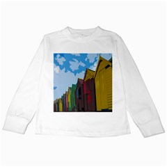 Brightly Colored Dressing Huts Kids Long Sleeve T Shirts