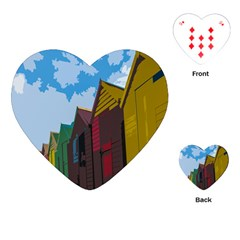 Brightly Colored Dressing Huts Playing Cards (Heart)