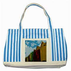 Brightly Colored Dressing Huts Striped Blue Tote Bag