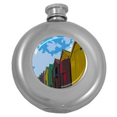 Brightly Colored Dressing Huts Round Hip Flask (5 Oz)