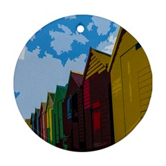 Brightly Colored Dressing Huts Round Ornament (Two Sides)