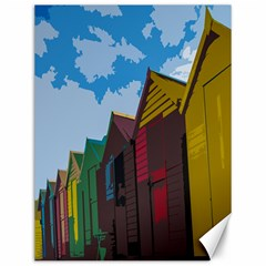 Brightly Colored Dressing Huts Canvas 12  x 16
