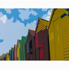 Brightly Colored Dressing Huts Canvas 18  X 24